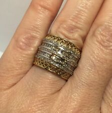 Large 14k Yellow Gold Sterling Silver 1 Ct Diamond Cigar Band Wedding Ring 6 1/2