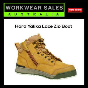 HARD YAKKA MENS '3056' LACE ZIP STEEL CAP SAFETY BOOT - Y60200 - WHEAT