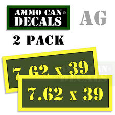 7.62 X 39 Ammo Can Box Decal Sticker bullet ARMY Gun safety Hunting 2 pack AG