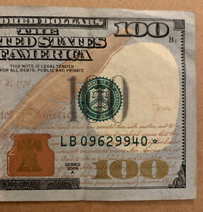 2009 A Series $100 Bill *Star Note*, Bookend S# LB 09629940 * B2-NY District