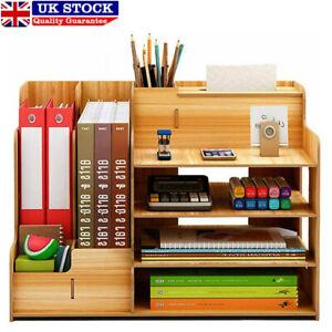 Wooden Desk Organizer Large Capacity Office Supplies Storage Unit File Rack
