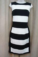 Calvin Klein Dress 8 Black Ivory Striped Sleeveless Cocktail Party Sheath Dress