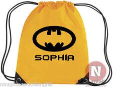 Personalised Batman kit bag. Drawstring gym PE school - add child's name