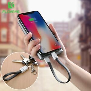 FLOVEME Keychain for iPhone Type C Micro USB Cable Charging Data - 15cm
