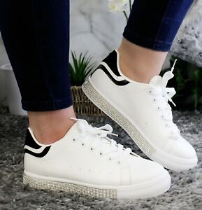 Diamante Lace Up Sneaker Running Trainers Women Plimsoll Ladies Sport Shoes Size