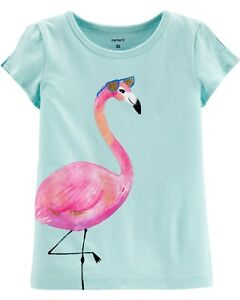 NWT Carter's Girls 18M, 4T, 5T Jersey Tee Flamingo Short Sleeve Blue Cotton