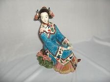 Vntg Antique Very Detailed Porcelain Chinese Seated Woman Figurine Signed RARE