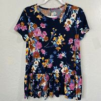 Blue Floral Peplum Top Frill ruffle Print Top Blouse Short Sleeve Pink Rust Fall