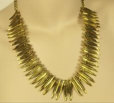 Bohemia Retro Leaf Feather Gold Bronze Statement Collar Chain Necklace