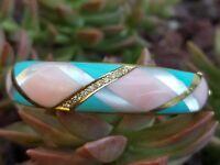 Asch Grossbardt 14k Yellow Gold Multi Gemstone Inlay Bangle Bracelet  45 gm