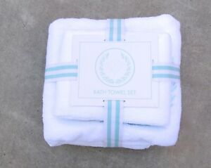 New Diamond Supply Co. Two Piece Bath White Teal Towel Set RBCK-241
