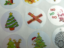 Christmas & Festive Circle Greeting Stickers Colour on Silver Self-stick