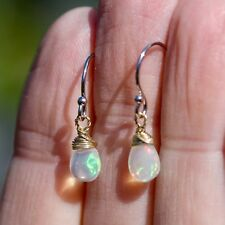 Tiny Natural Opal Wire Wrapped Earrings Solid 14K Yellow Gold 14th Anniversary