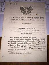 REGIO DECRETO COMUNE MEZZANA CASATI è SOPPRESSO ED AGGREGATO  SAN ROCCO AL PORTO