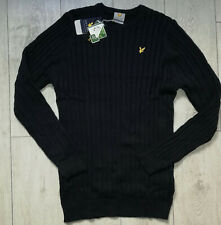 "*NEW* Lyle & Scott Golf ""XXL"" Jumper Navy Stretch Cotton Mens Cable Knit Sweater"