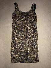 Arden B Black Gold Sequin Tank Dress Large L