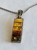 """Vintage Amber Stone Silver Tone Pendant 3/8"""" x 1 1/2"""" Chain 17.5"""" Necklace"""