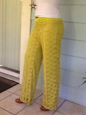 Copper Key Over Lace Palazzo Pants Fully Lined Stretch Soft Green Apple Large