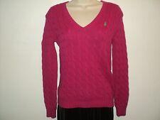 Ralph Lauren Sport Women's Size M Medium Sweater Dark Pink Cable Stitched Cotton