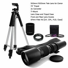 BOWER  500mm/1000mm f/8.0 Telephoto Lens for Canon T5i T6i T6s 5D Mark II + More
