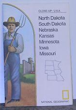 Vintage 1974 National Geographic Map of North & South Dakota, Nebraska ..etc