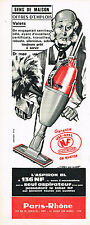 PUBLICITE ADVERTISING   1962   PARIS RHONE  aspirateur ASPIRON BL