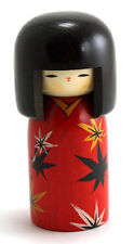 "Japanese Creative KOKESHI Wooden Doll Girl, 6""H Flower Maple Leave Made in Japan"
