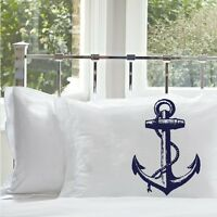 Ship Anchor Pillowcases, Nautical Pillowcase, Nautical Decor, Anchor, Pillowcase