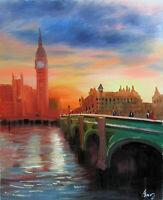 100%Hand-painted Art Oil Painting London Bridge 16*20inch  Decoration