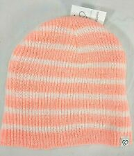 AEROPOSTALE wms/jrs Live Love Dream pale orange stripe beanie hat One Size NWT
