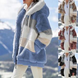 Frauen Warme Jacke Teddybär Flauschige Plüsch Patchwork Kapuzenmantel Outwear
