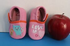 Z. Infant BABY Girl 1st Walk Crib SHOES~Pink w/Kitty Cat & I Love You~Size 0-6 M