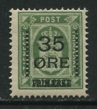 Denmark 1912 35 ore overprinted on 32  ore green mint o.g.