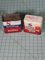 Vintage Schilling Pumpkin Pie Spice & Allspice Tins. B12