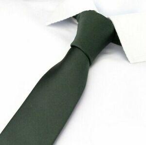 IDEAL WEDDING TIE > Classic 6cm Mens Army Green Luxury Smooth Satin Silk Necktie
