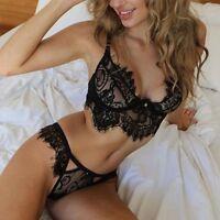Sleepwear Women Bra Tops+Briefs Lingerie Underwear Suit Lace