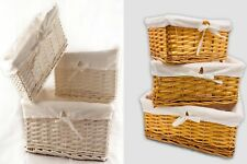 WICKER HAMPER BASKET XMAS GIFT STORAGE BOX Available in Differennt Sizes & Set