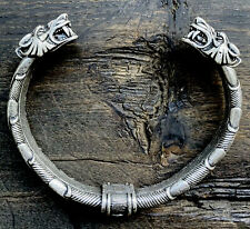 Antiqued Silver Plate On Heavy Steel Viking Wolf Bracelet Arm Band