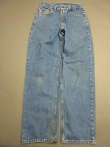 CARHARTT SIZE 30X32 MENS BLUE 100% COTTON DURABLE RELAXED FIT WORK PANTS T144