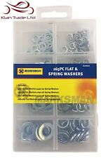 165PC FLAT & SPRING WASHERS SET - BOX CASE DIY ASSORTED WASHER STEEL M5 to M10