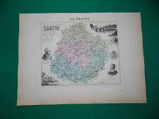 SARTHE CARTE ATLAS MIGEON Edition 1885, Carte + fiche descriptive