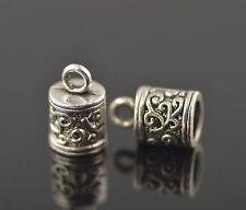 15pcs Silver End Caps Bead Stopper Fit 5mm Cord Bracelet Necklace Making DIY