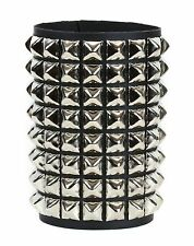 8 Row Pyramid Stud Leather Bracelet Punk Goth Thrash Metal Short Gauntlet Bracer