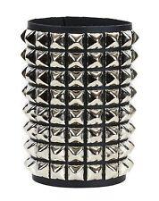 8 Row Pyramid Stud Leather Bracelet Punk Goth Thrash Metal Short Gauntlet Bracer
