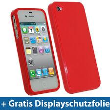 Rot TPU Gel Tasche für Apple iPhone 4S 16GB 32GB 64GB Schutz Hülle