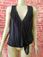 Ella Moss Black Fringed Wrap style Sleeveless Elastic waist Women's Top Size M
