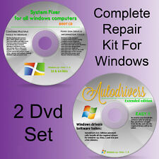 COMBO DEAL: ALL Windows Repair/Recovery BOOT CD Disc + Extended DRIVERS PACK DVD