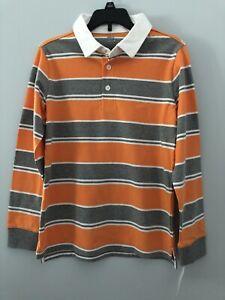 Falls Creek Boys Sz L 10/12 Long Sleeve Striped Rugby Collared Polo shirt orange