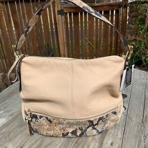 New B. Makowsky Beige & Snakeskin Leather Burnett Hobo Bag Retail $238