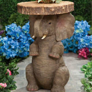 Good Luck & Fortune Safari Elephant Home Side Planter Accent Table